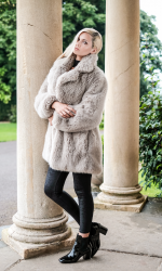 Louisa wears the faux fur Bethany coat from Hobbs, £179
